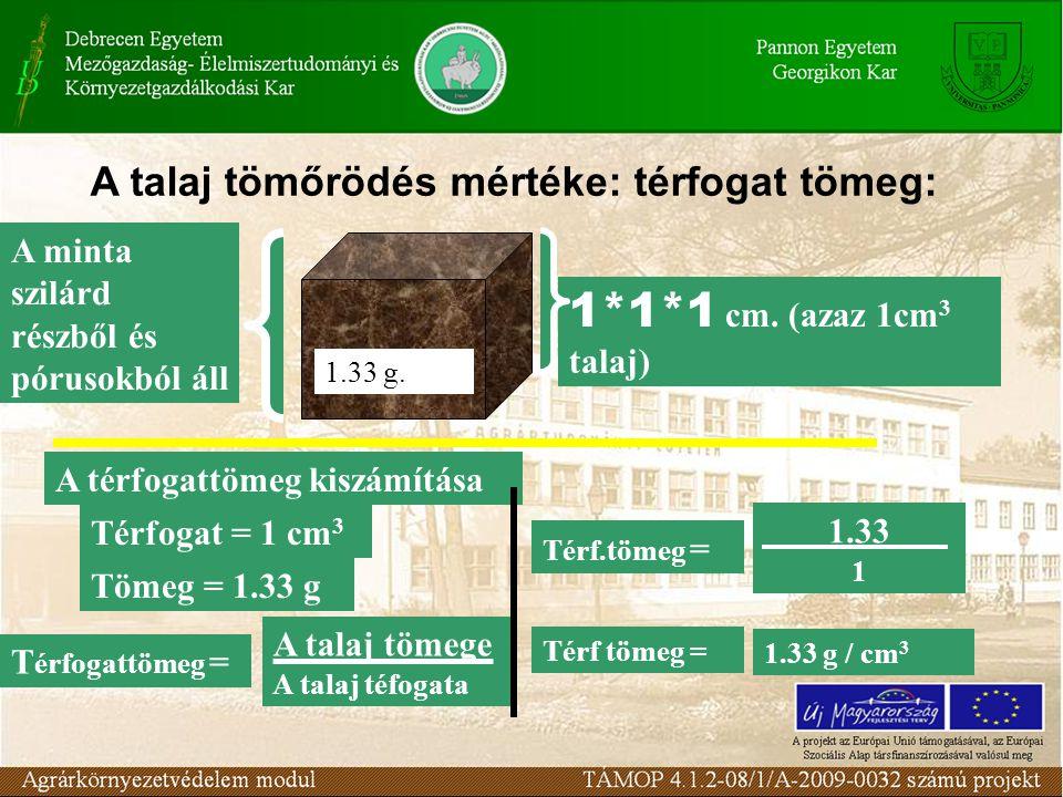 A humuszos talaj átlagos térfogattömege: 1,3 g/cm3 1 m2 - 10 cm-es rétege: 130 kg 1ha- 10 cm-es rétege: 1300000kg Átlagos értékek