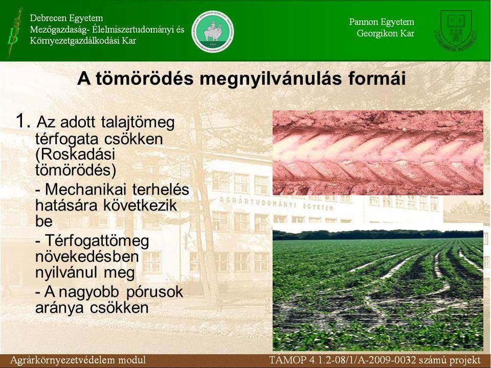 Az adott térfogatú talaj pórusait máshonnan odaszállított anyag tömi el (Anyagszállítási tömörödés) - Peptizálódott talajrészecskék lerakódása okozza - A térfogattömeg növekedése nem mindig következik be - A finom pórusok aránya csökken Anyagszállítási tömörödés