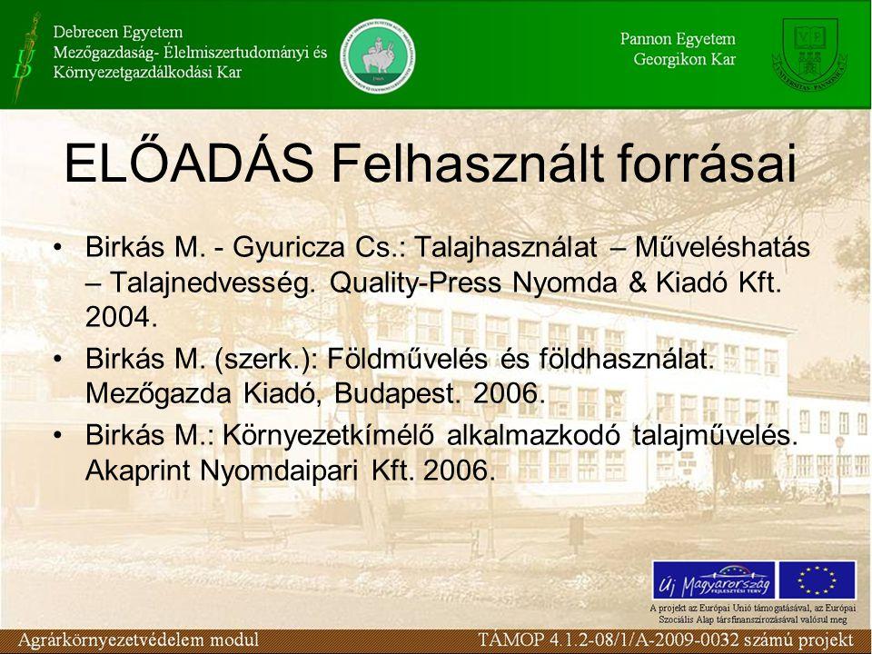 ELŐADÁS Felhasznált forrásai Birkás M. - Gyuricza Cs.: Talajhasználat – Műveléshatás – Talajnedvesség. Quality-Press Nyomda & Kiadó Kft. 2004. Birkás