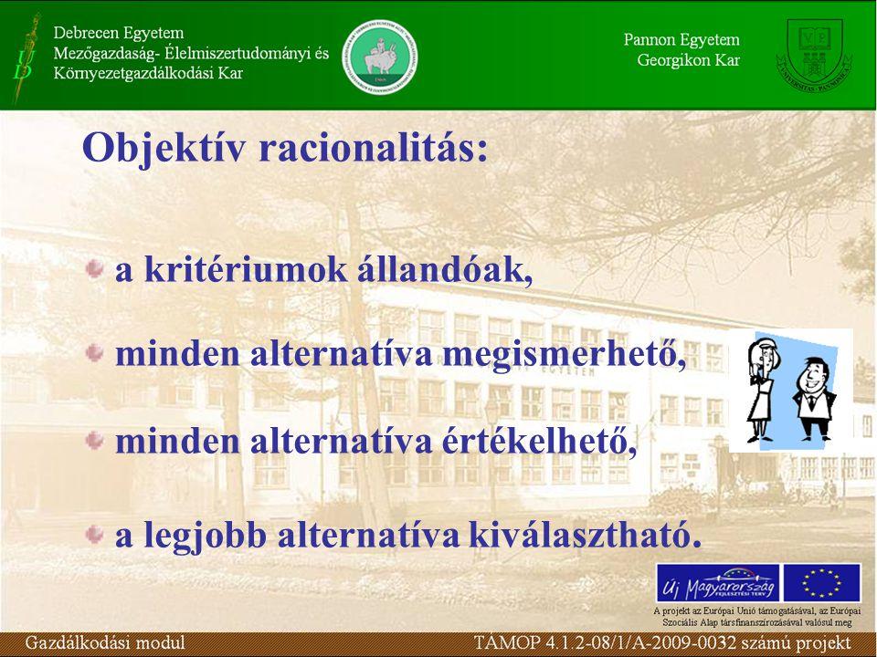 Objektív racionalitás: a kritériumok állandóak, minden alternatíva megismerhető, minden alternatíva értékelhető, a legjobb alternatíva kiválasztható.