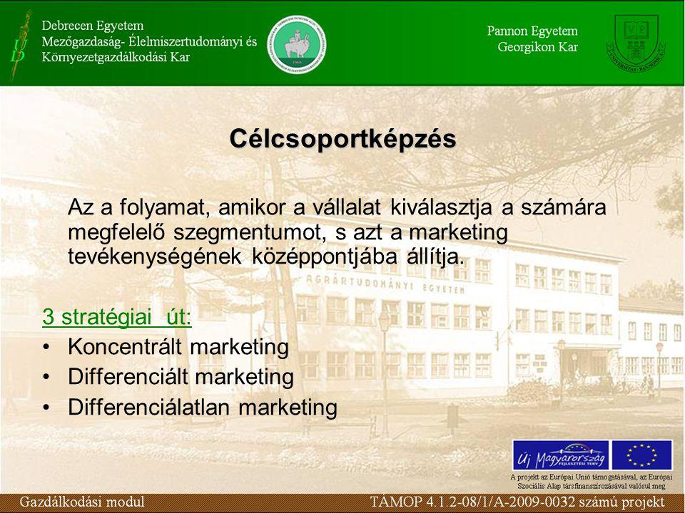 Célcsoportképzés Az a folyamat, amikor a vállalat kiválasztja a számára megfelelő szegmentumot, s azt a marketing tevékenységének középpontjába állítja.