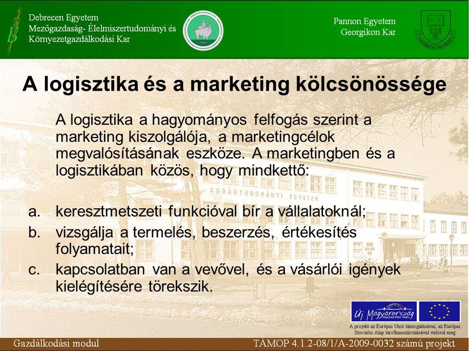 A marketing és a logisztika kiegészítik egymást: a marketing stimulálja a keresletet és közvetíti a piaci impulzusokat a termelésbe, a logisztika végrehajtja a kereslet kielégítést és megvalósítja a termeléshez kapcsolódó áramlási folyamatokat.