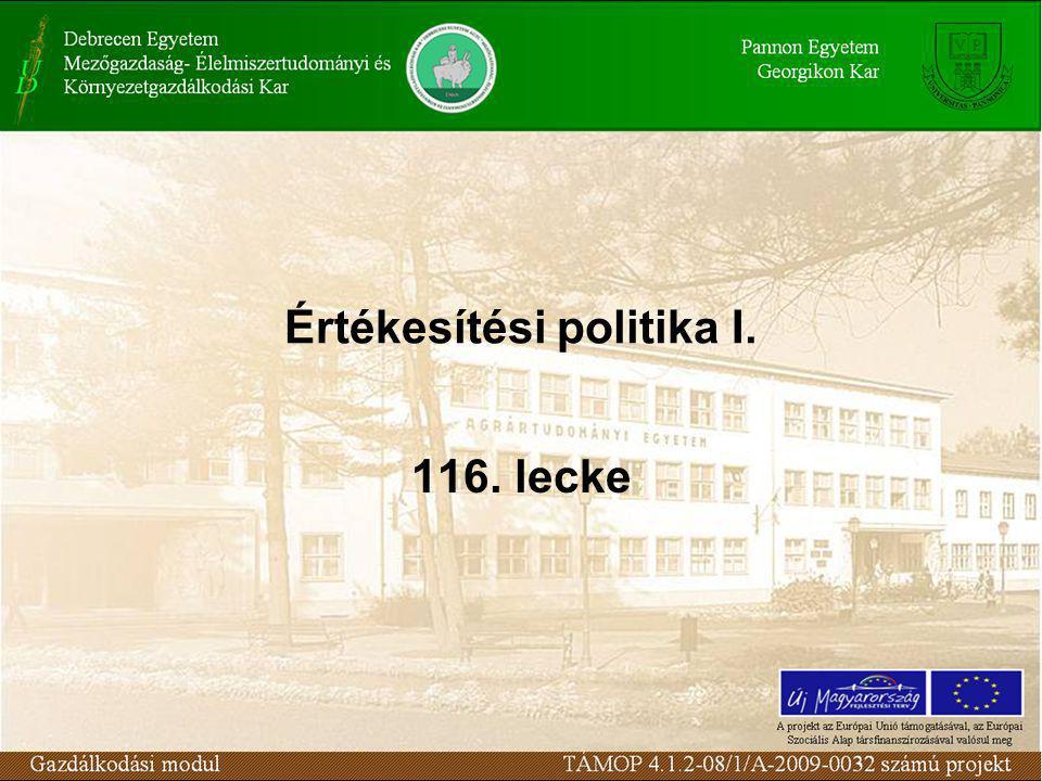 Értékesítési politika I. 116. lecke