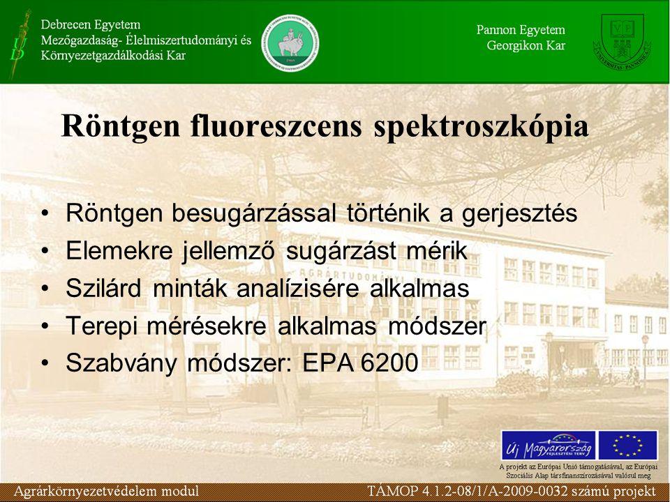 Röntgen fluoreszcens spektroszkópia Röntgen besugárzással történik a gerjesztés Elemekre jellemző sugárzást mérik Szilárd minták analízisére alkalmas Terepi mérésekre alkalmas módszer Szabvány módszer: EPA 6200