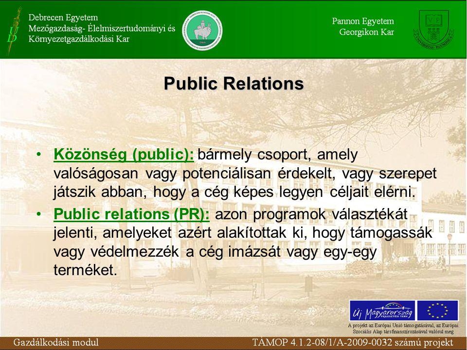 Public Relations Közönség (public): bármely csoport, amely valóságosan vagy potenciálisan érdekelt, vagy szerepet játszik abban, hogy a cég képes legyen céljait elérni.