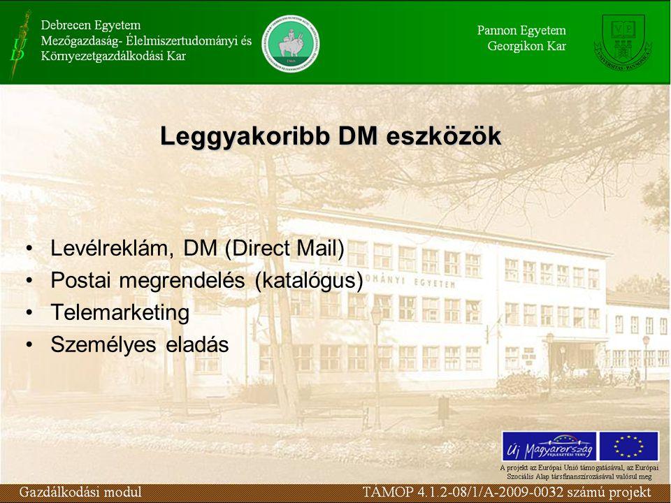 Leggyakoribb DM eszközök Levélreklám, DM (Direct Mail) Postai megrendelés (katalógus) Telemarketing Személyes eladás