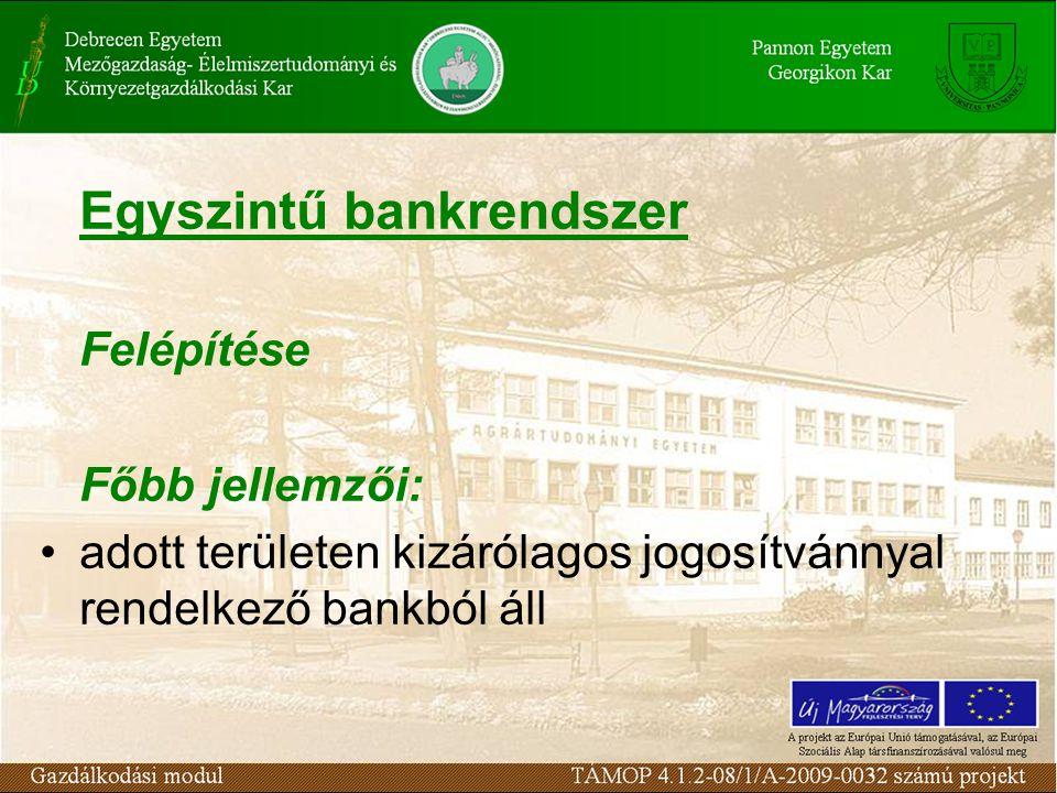 Egyszintű bankrendszer Felépítése Főbb jellemzői: adott területen kizárólagos jogosítvánnyal rendelkező bankból áll