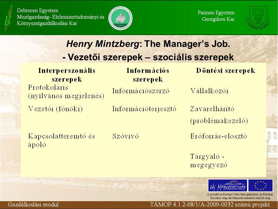 Henry Mintzberg: The Manager's Job. - Vezetői szerepek – szociális szerepek
