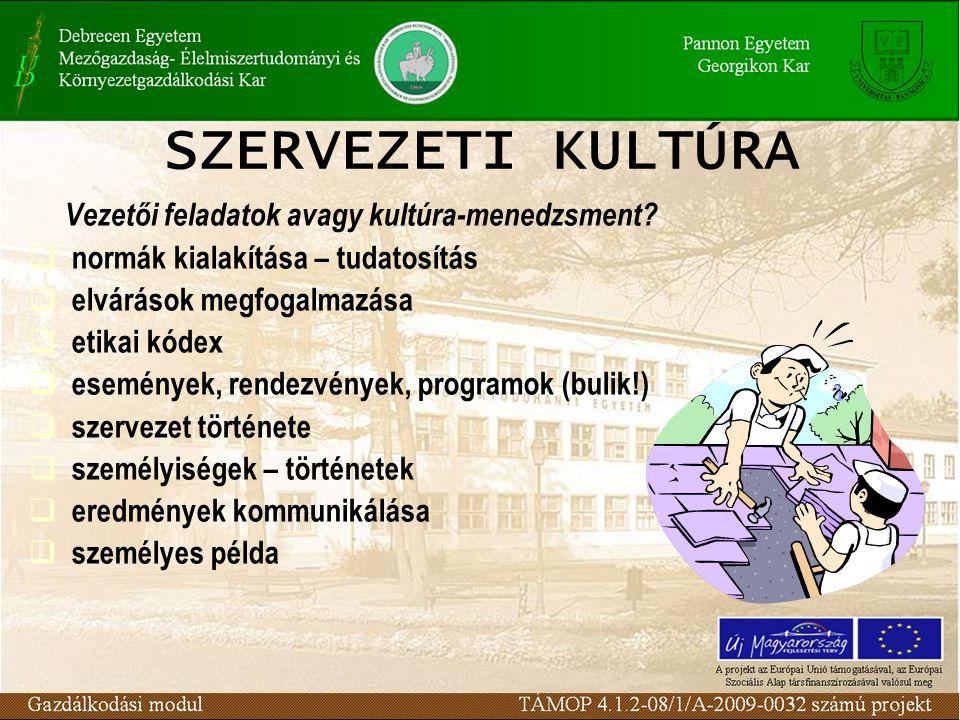 SZERVEZETI KULTÚRA Vezetői feladatok avagy kultúra-menedzsment.