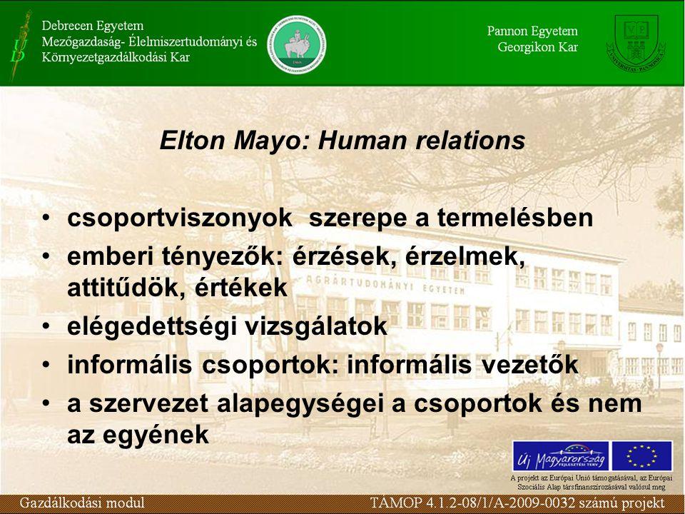 Elton Mayo: Human relations csoportviszonyok szerepe a termelésben emberi tényezők: érzések, érzelmek, attitűdök, értékek elégedettségi vizsgálatok informális csoportok: informális vezetők a szervezet alapegységei a csoportok és nem az egyének