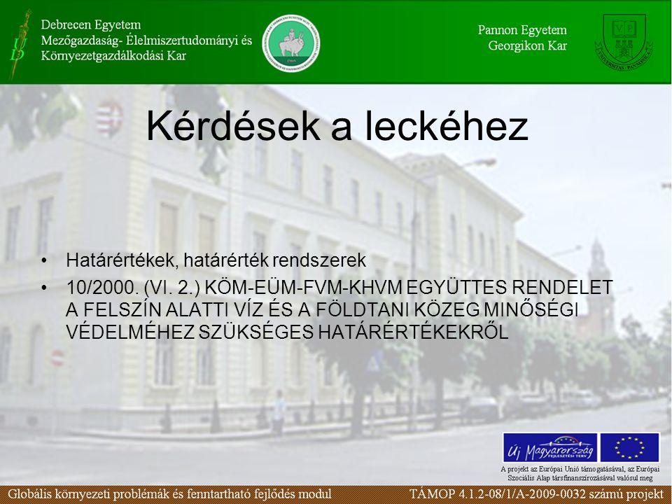 Határértékek, határérték rendszerek 10/2000. (VI.