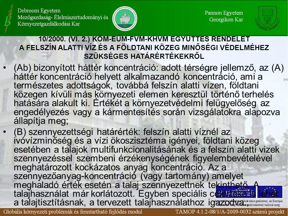 (Ci) intézkedési szennyezettségi határérték: egy adott terület - külön jogszabály szerinti ((Lásd: 33/2000.