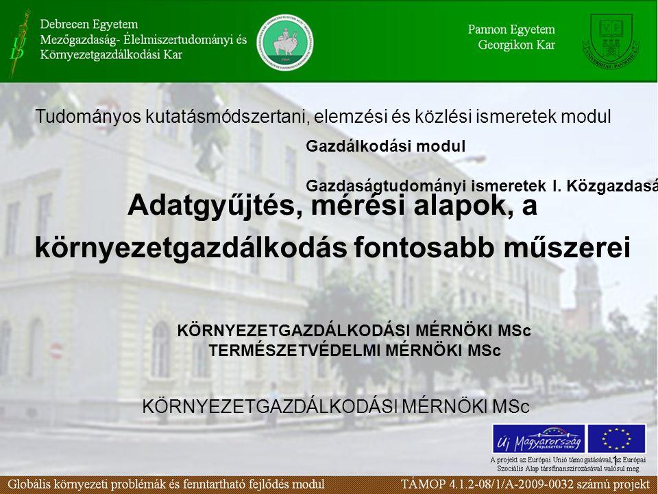 2 A környezetvédelmi mérésekkel szembeni elvárások I. 72. Lecke