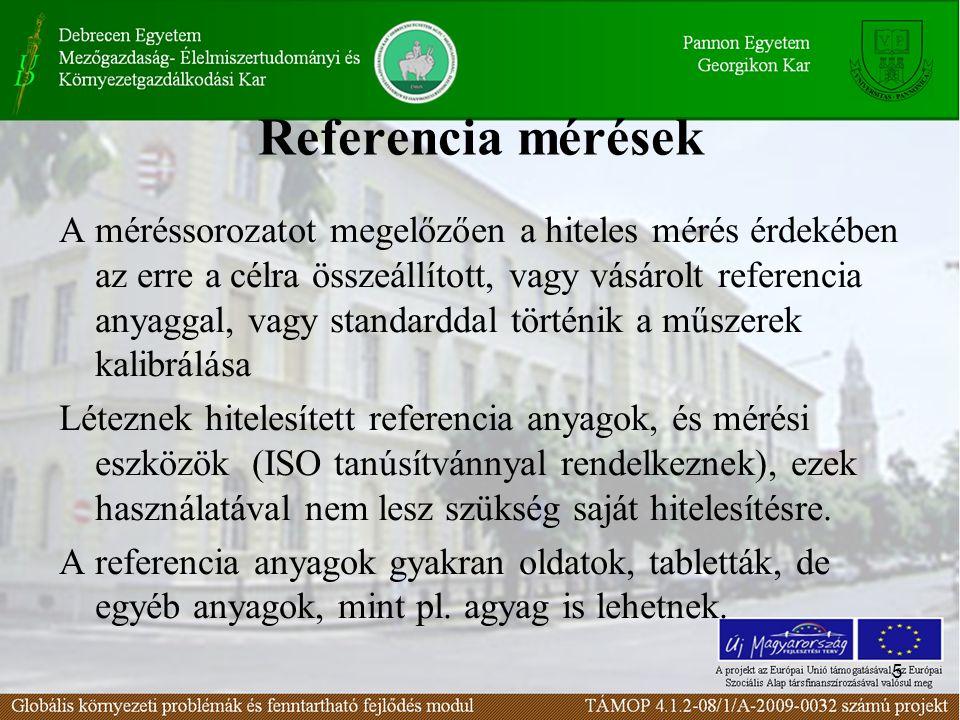 5 Referencia mérések A méréssorozatot megelőzően a hiteles mérés érdekében az erre a célra összeállított, vagy vásárolt referencia anyaggal, vagy standarddal történik a műszerek kalibrálása Léteznek hitelesített referencia anyagok, és mérési eszközök (ISO tanúsítvánnyal rendelkeznek), ezek használatával nem lesz szükség saját hitelesítésre.