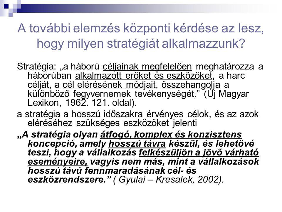 """A további elemzés központi kérdése az lesz, hogy milyen stratégiát alkalmazzunk? Stratégia: """"a háború céljainak megfelelően meghatározza a háborúban a"""