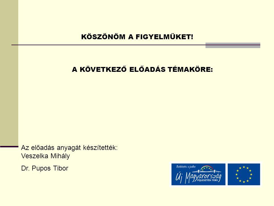 KÖSZÖNÖM A FIGYELMÜKET! A KÖVETKEZŐ ELŐADÁS TÉMAKÖRE: Az előadás anyagát készítették: Veszelka Mihály Dr. Pupos Tibor