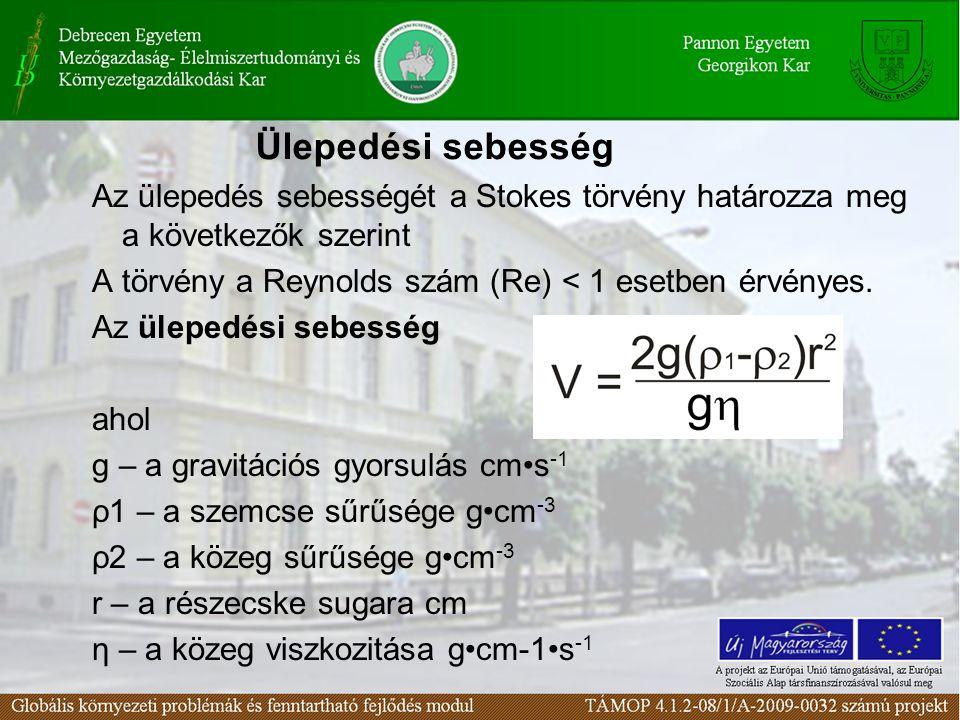 Az ülepedés sebességét a Stokes törvény határozza meg a következők szerint A törvény a Reynolds szám (Re) < 1 esetben érvényes.