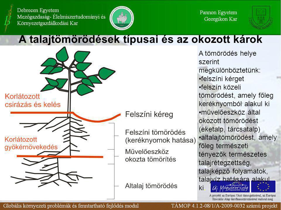 A talajtömörödések típusai és az okozott károk A tömörödés helye szerint megkülönböztetünk: felszíni kérget felszín közeli tömörödést, amely főleg ker