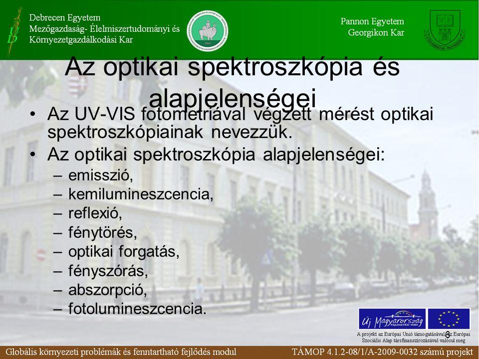 6 Az optikai spektroszkópia és alapjelenségei Az UV-VIS fotometriával végzett mérést optikai spektroszkópiainak nevezzük.