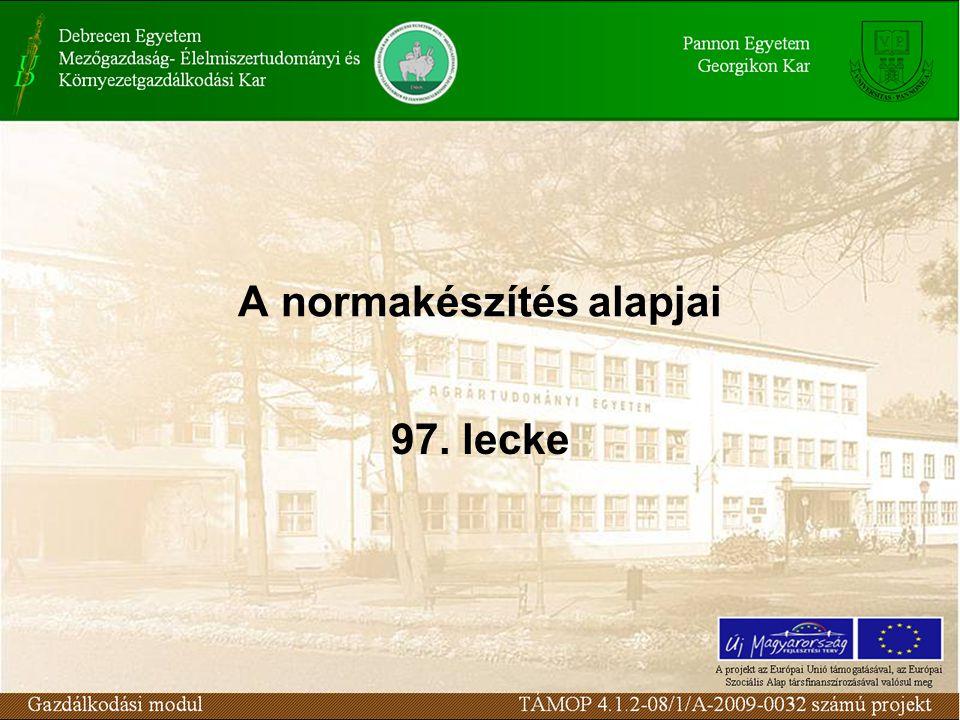 Norma: a ráfordítás optimális mértéke Normatípusok –Munkanorma –Anyagnorma –Energianorma –Létszámnorma –Kiszolgálási norma