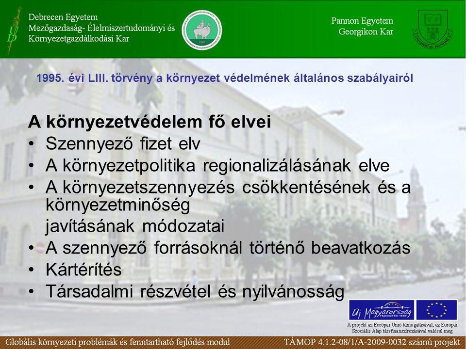 A környezetvédelem fő elvei Szennyező fizet elv A környezetpolitika regionalizálásának elve A környezetszennyezés csökkentésének és a környezetminőség