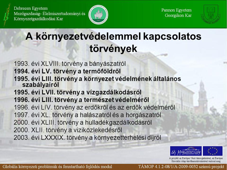 A környezetvédelemmel kapcsolatos törvények 1993. évi XLVIII. törvény a bányászatról 1994. évi LV. törvény a termőföldről 1995. évi LIII. törvény a kö