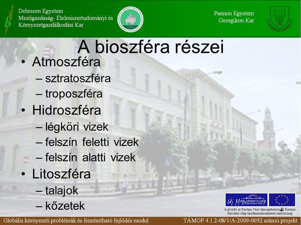 A bioszféra modellje Forrás: SZÉCHENYI ISTVÁN EGYETEM, Környezetmérnöki Tanszék, Dr. Torma A.