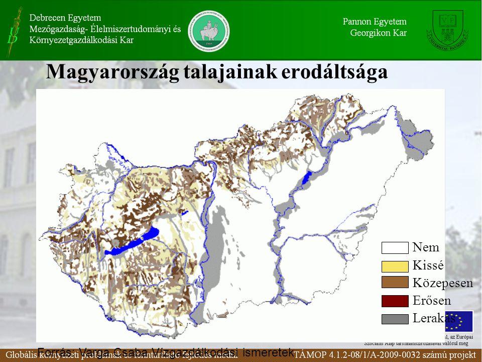 Magyarország talajainak erodáltsága Nem Kissé Közepesen Erősen Lerakás Forrás: Varga Csaba Vízgazdálkodási ismeretek