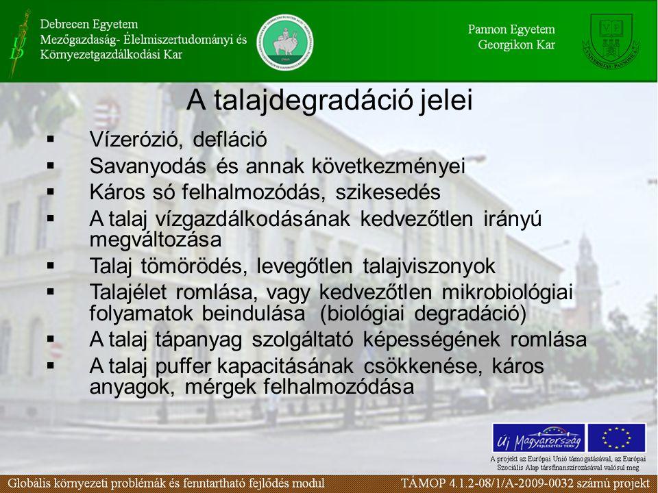 A talajdegradáció jelei  Vízerózió, defláció  Savanyodás és annak következményei  Káros só felhalmozódás, szikesedés  A talaj vízgazdálkodásának k