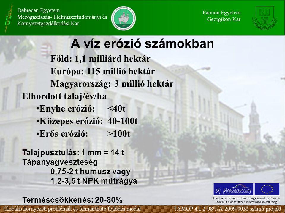 A víz erózió számokban Föld: 1,1 milliárd hektár Európa: 115 millió hektár Magyarország: 3 millió hektár Elhordott talaj/év/ha Enyhe erózió: <40t Köze