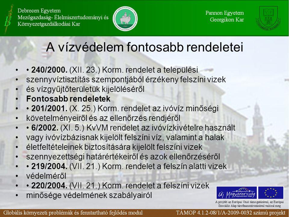 A vízvédelem fontosabb rendeletei 240/2000. (XII. 23.) Korm. rendelet a települési szennyvíztisztítás szempontjából érzékeny felszíni vizek és vízgyűj