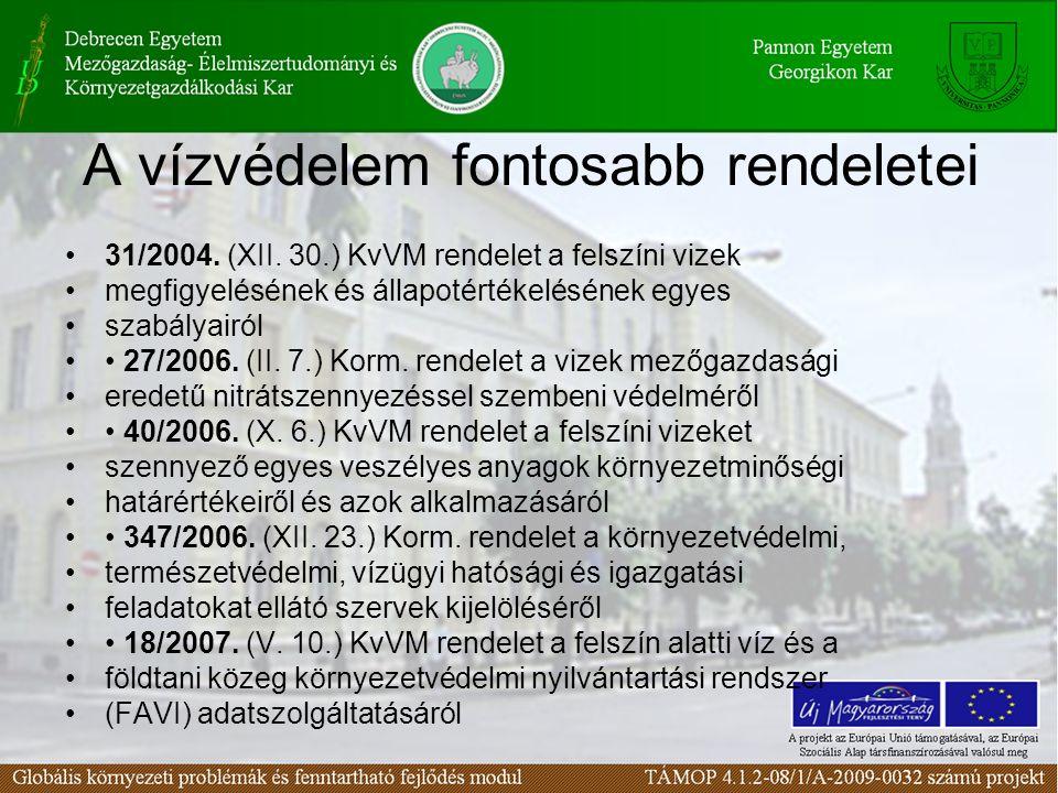 A vízvédelem fontosabb rendeletei 31/2004. (XII. 30.) KvVM rendelet a felszíni vizek megfigyelésének és állapotértékelésének egyes szabályairól 27/200