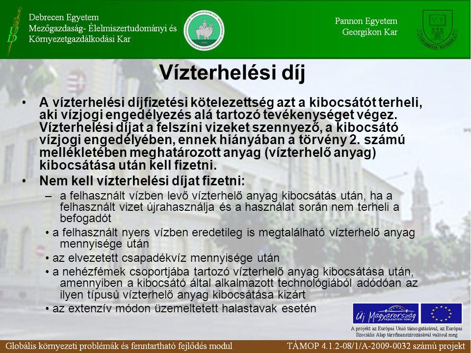 Vízterhelési díj A vízterhelési díjfizetési kötelezettség azt a kibocsátót terheli, aki vízjogi engedélyezés alá tartozó tevékenységet végez. Vízterhe