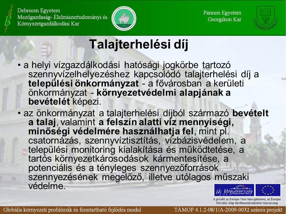 Talajterhelési díj a helyi vízgazdálkodási hatósági jogkörbe tartozó szennyvízelhelyezéshez kapcsolódó talajterhelési díj a települési önkormányzat -
