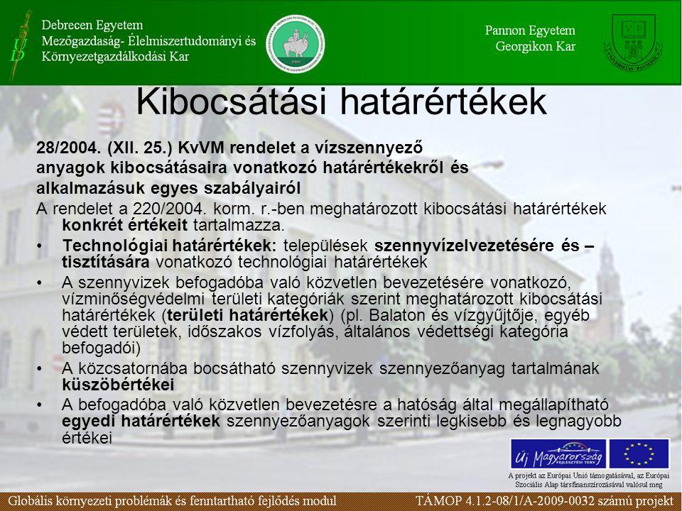 Kibocsátási határértékek 28/2004. (XII. 25.) KvVM rendelet a vízszennyező anyagok kibocsátásaira vonatkozó határértékekről és alkalmazásuk egyes szabá