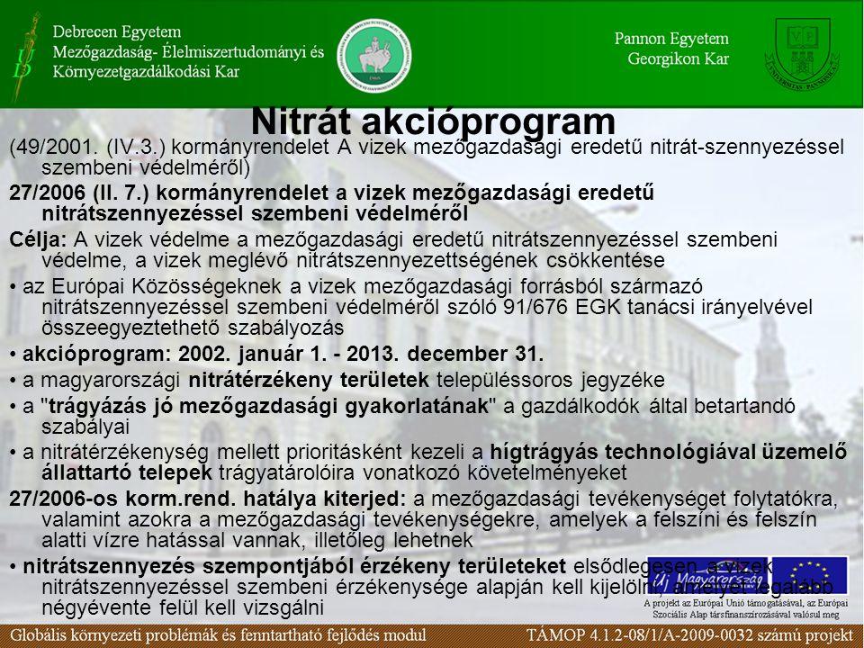 Nitrát akcióprogram (49/2001. (IV.3.) kormányrendelet A vizek mezőgazdasági eredetű nitrát-szennyezéssel szembeni védelméről) 27/2006 (II. 7.) kormány