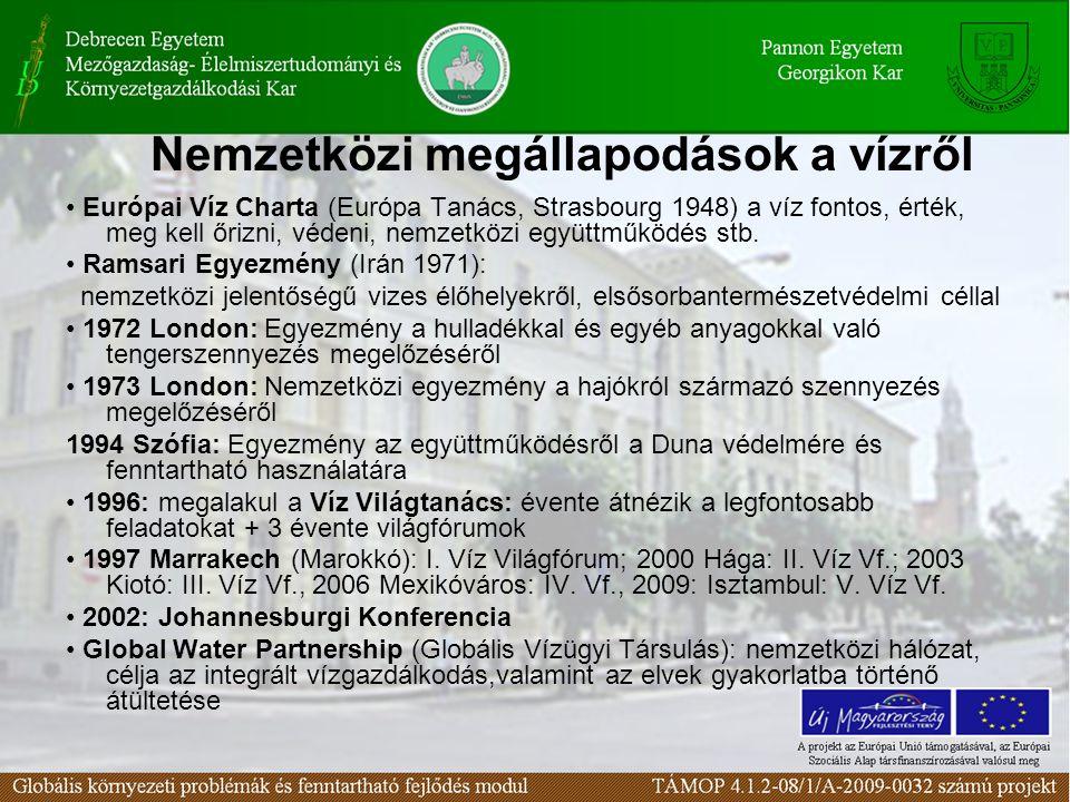Nemzetközi megállapodások a vízről Európai Víz Charta (Európa Tanács, Strasbourg 1948) a víz fontos, érték, meg kell őrizni, védeni, nemzetközi együtt