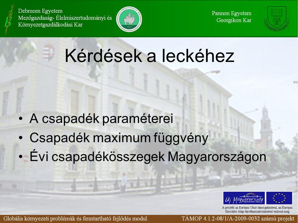 A csapadék paraméterei Csapadék maximum függvény Évi csapadékösszegek Magyarországon Kérdések a leckéhez