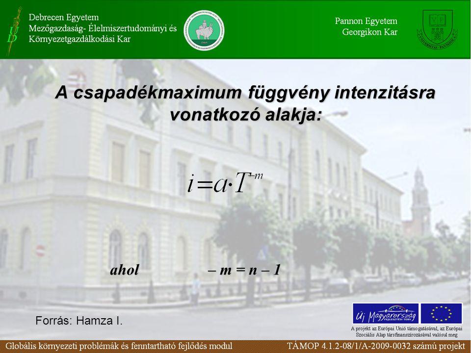 A csapadékmaximum függvény intenzitásra vonatkozó alakja: ahol – m = n – 1 Forrás: Hamza I.
