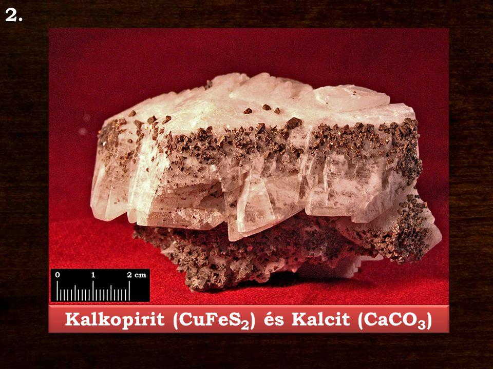 Kalkopirit – CuFeS 2 Ásványosztály: Szulfidok és rokonvegyületek Kristályrendszer: tetragonális Jellegzetes kristályforma: áltetraéder Keménység: 3,5 – 4 Hasadás/Törés: hasadása rossz, törése egyenetlen Szín: zöldessárga színjátszó bevonattal Porszín: zöldessárga Fény: fémfényű Kalcit – CaCO 3 Ásványosztály: Karbonátok és nitrátok Kristályrendszer: trigonális Jellegzetes kristályforma: romboéder, prizmás, táblás Keménység: 3 Hasadás/Törés: hasadása kitűnő, törése kagylós Szín: színtelen, fehér, szürke, barna, sárga Porszín: fehér Fény: üvegfényű, gyöngyházfényű Lelőhely: Parádsasvár, Nagylápafő
