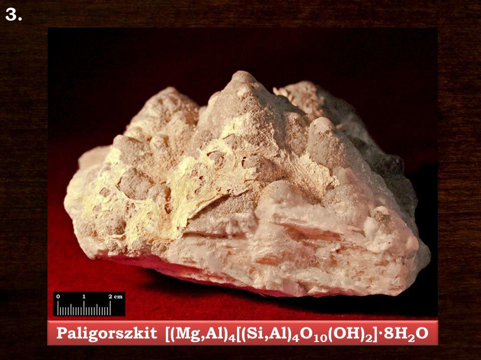 Paligorszkit – [(Mg,Al) 4 [(Si,Al) 4 O 10 (OH) 2 ]∙8H 2 O Ásványosztály: Karbonátok és nitrátok Kristályrendszer: trigonális Jellegzetes kristályforma: romboéder, prizmás, táblás Keménység: 3 Hasadás/Törés: hasadása kitűnő, törése kagylós Szín: színtelen, fehér, szürke, barna, sárga Porszín: fehér Fény: üvegfényű, gyöngyházfényű Lelőhely: Parádsasvár, Nagylápafő