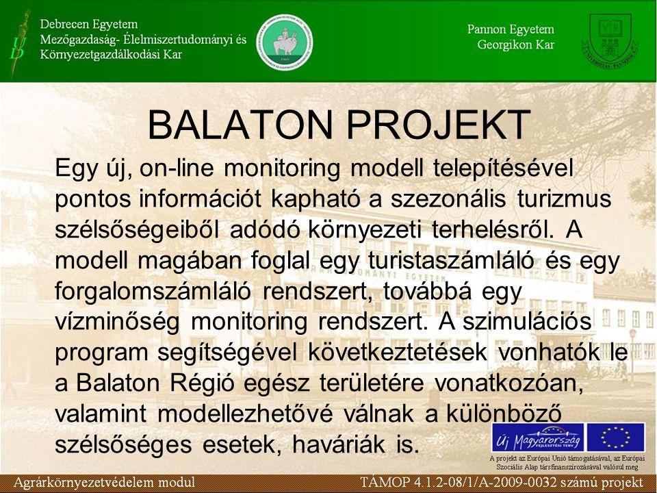 BALATON PROJEKT Egy új, on-line monitoring modell telepítésével pontos információt kapható a szezonális turizmus szélsőségeiből adódó környezeti terhelésről.