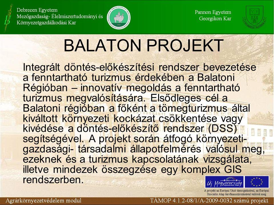BALATON PROJEKT Integrált döntés-előkészítési rendszer bevezetése a fenntartható turizmus érdekében a Balatoni Régióban – innovatív megoldás a fenntartható turizmus megvalósítására.