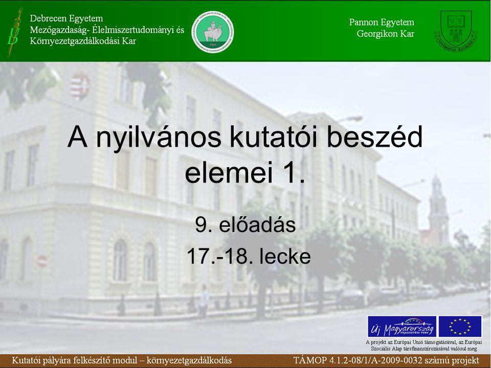 A nyilvános kutatói beszéd elemei 1. 9. előadás 17.-18. lecke