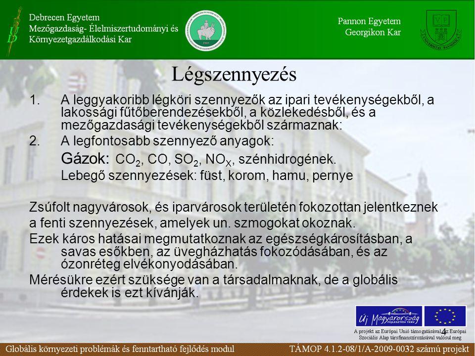 4 1.A leggyakoribb légköri szennyezők az ipari tevékenységekből, a lakossági fűtőberendezésekből, a közlekedésből, és a mezőgazdasági tevékenységekből
