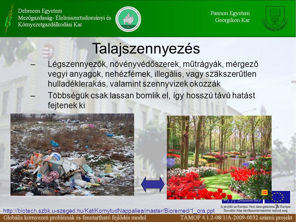 7 –Légszennyezők, növényvédőszerek, műtrágyák, mérgező vegyi anyagok, nehézfémek, illegális, vagy szakszerűtlen hulladéklerakás, valamint szennyvizek okozzák –Többségük csak lassan bomlik el, így hosszú távú hatást fejtenek ki Talajszennyezés http://biotech.szbk.u-szeged.hu/KatiKornytudNappaliea/master/Bioremed/1_ora.ppt