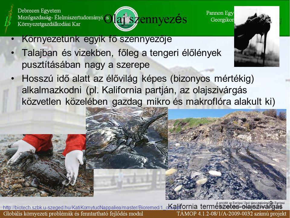 9 Olaj szennyez é s Környezetünk egyik fő szennyezője Talajban és vizekben, főleg a tengeri élőlények pusztításában nagy a szerepe Hosszú idő alatt az