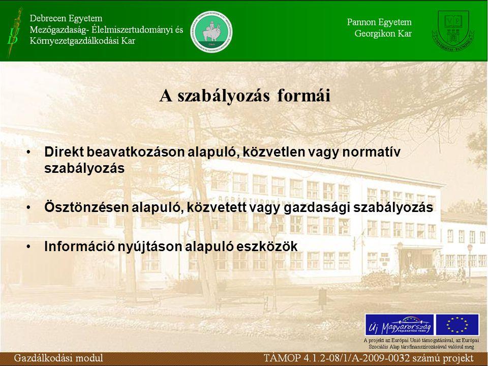 A szabályozás formái Direkt beavatkozáson alapuló, közvetlen vagy normatív szabályozás Ösztönzésen alapuló, közvetett vagy gazdasági szabályozás Infor