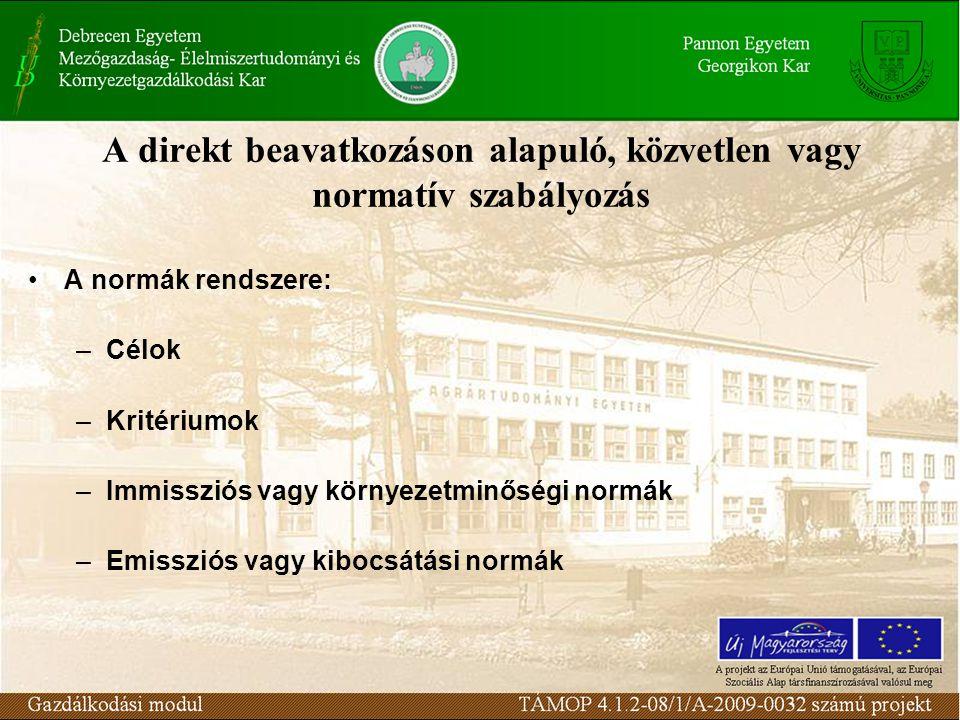 A direkt beavatkozáson alapuló, közvetlen vagy normatív szabályozás A normák rendszere: –Célok –Kritériumok –Immissziós vagy környezetminőségi normák