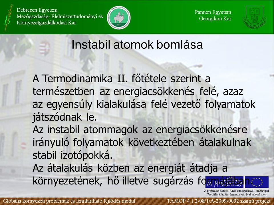 Instabil atomok bomlása A Termodinamika II. főtétele szerint a természetben az energiacsökkenés felé, azaz az egyensúly kialakulása felé vezető folyam